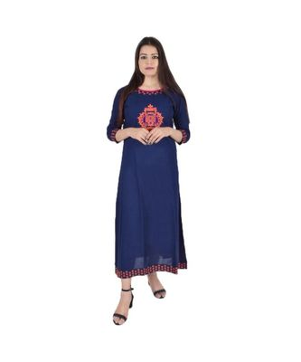 Womens Rayon Navy Straight Round Neck Ankle Length Kurti