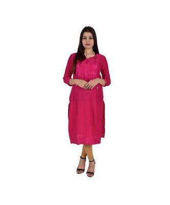 Womens Rayon Pink Straight V Neck Calf Length Kurti