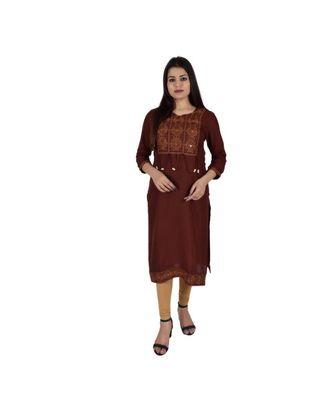 Womens Rayon Brown Straight V Neck Calf Length Kurti