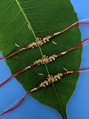 Tortoise Designer Rakhi (Pack of 3) Set for Men Gold Plated Elephant Rudraksha Beads Multicolor Thread Rakhi for Brother