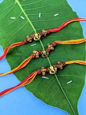 Ganesh Ji Designer Rakhi (Pack of 3) Set For Men Gold Plated Ganpati Bappa Rudraksha Multicolor Thread Rakhi For Brother