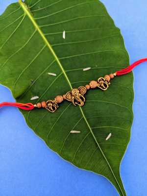 Ganesh Ji Designer Rakhi Set For Men Gold Plated Ganpati Bappa OM Tulsi Beads Multicolor Thread Rakhi For Brother/ Bhai