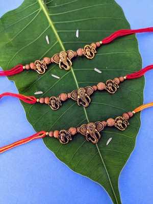 Ganesh Ji Designer (Pack of 3) Rakhi Set For Men Gold Plated Ganpati Bappa OM Beads Multicolor Thread Rakhi For Brother