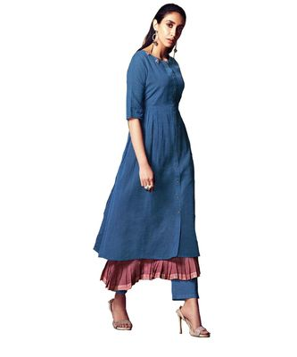 Double-Layer Blue Cotton Long Kurtis