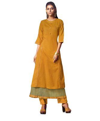 Double-Layer Yellow Cotton Long Kurtis