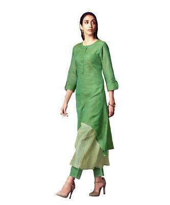 Double-Layer Green Cotton Long Kurtis