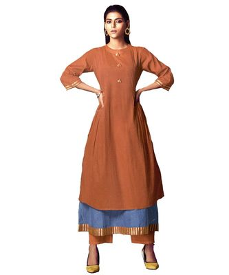 double-layer brown cotton long-kurtis