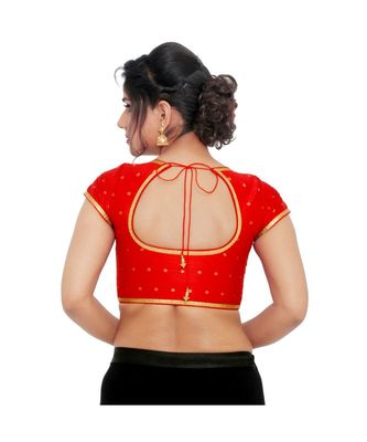 Red brocade padded designer ready made saree blouse