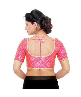 Pink brocade padded designer ready made saree blouse