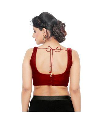 Maroon Velvet Padded Designer Ready Made Saree Blouse