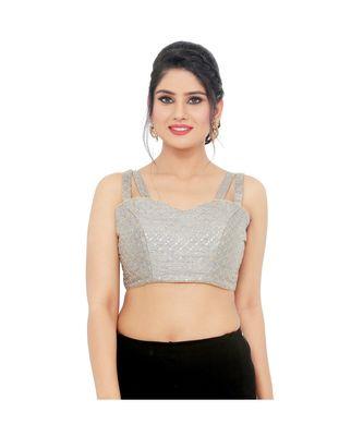 Grey Silk  Padded Designer Ready Made Saree Blouse