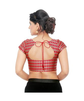 Red Brocade Padded Designer Ready Made Saree Blouse