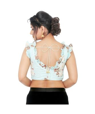 Pastel Blue Chiffon Padded Designer Ready Made Saree Blouse