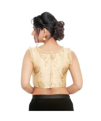 Gold Brocade Padded Designer Ready Made Saree Blouse