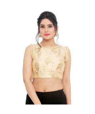 Peach net padded designer ready made saree blouse