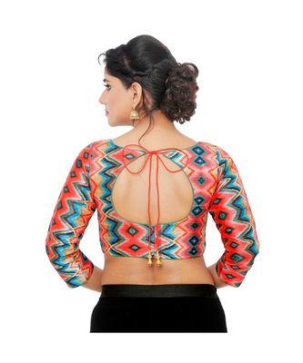 Multi Colourdupion Silk  Padded Designer Ready Made Saree Blouse