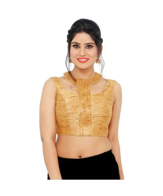Dark Gold Shimmer  Padded Designer Ready Made Saree Blouse