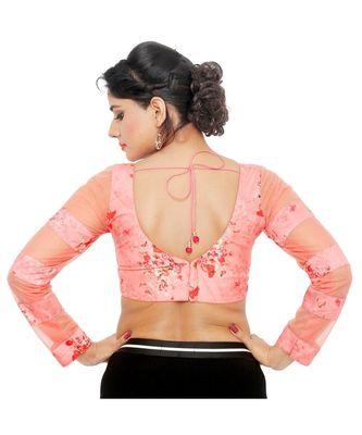 Pastel peach cotton padded designer ready made saree blouse