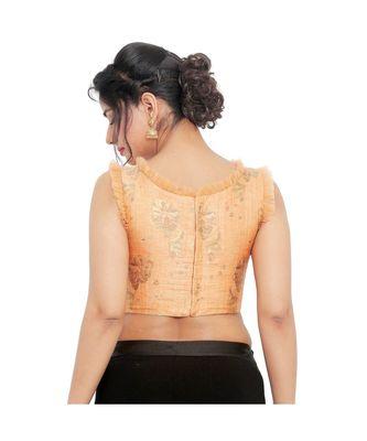 Pastel peachbrocade padded designer ready made saree blouse