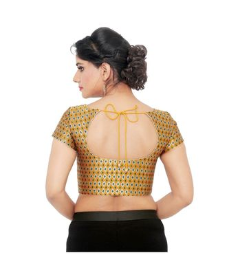 Mustard brocade padded designer ready made saree blouse