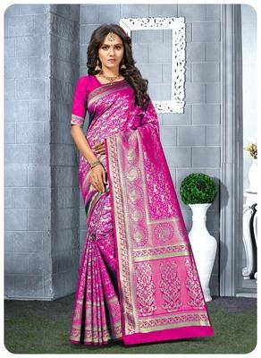 Rani Banarasi silk champion saree with Blouse
