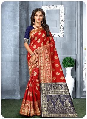 Red Banarasi soft silk champion saree with Blouse