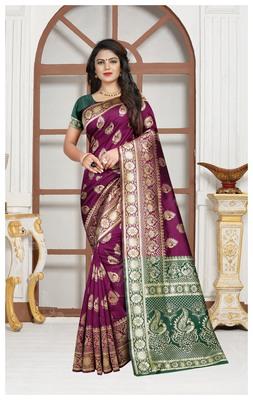 Wine Banarasi soft silk champion saree with Blouse