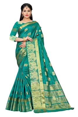 Sea green woven cotton silk saree with blouse