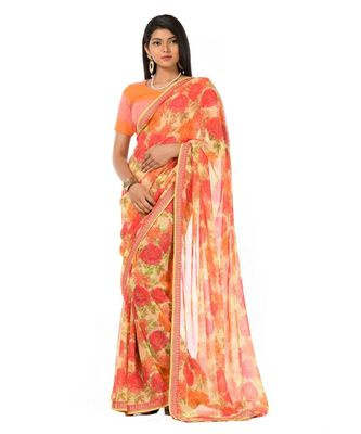 Orange and pink elegant Wrap in 1 Minute saree
