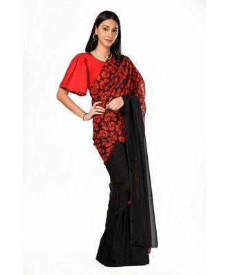 Red and black printed half n half Wrap in 1 Minute saree