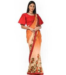 Orange and peach floral Wrap in 1 Minute saree