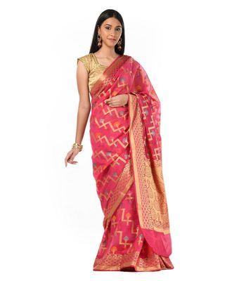 Geometrical Zari Motif Banarasi Wrap in 1 Minute saree