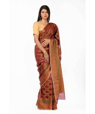 ethnic zari motifs magenta banarasi Wrap in 1 Minute saree