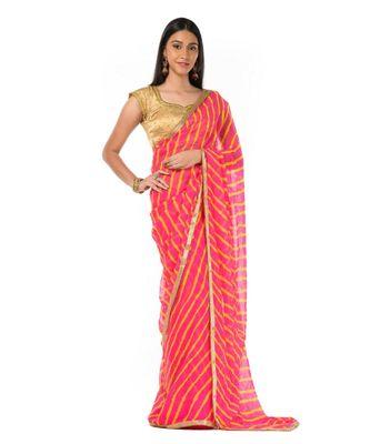 Pink Leheriya Magic Wrap in 1 Minute saree