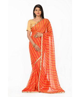 Orange Leheriya Magic Wrap in 1 Minute saree