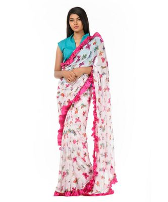 White and pink printed ruffles at the bordered Wrap in 1 Minute saree