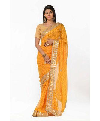 Gota embeliished yellow leheriya magic Wrap in 1 Minute saree