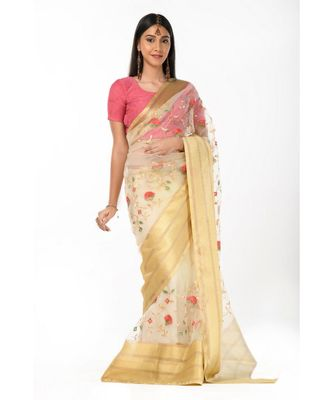 Zari bordered tissue embroidered Wrap in 1 Minute saree