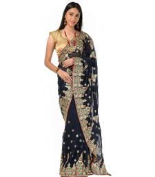 Blue georgette golden embroidery festive Wrap in 1 Minute saree