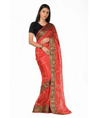 Rust red silk bandhani tie and dye Wrap in 1 Minute saree