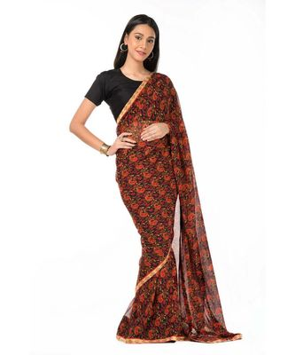 Light zari bordered, black printed magic Wrap in 1 Minute saree