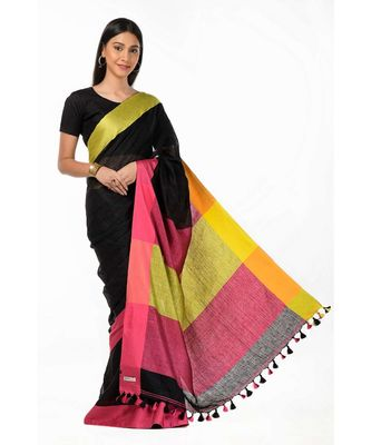 Black green pure linen handloom Wrap in 1 Minute saree