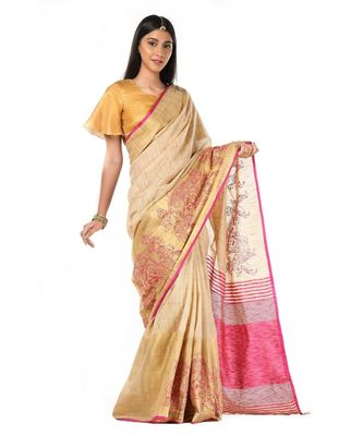 Beige and pink kantha kosa Wrap in 1 Minute saree