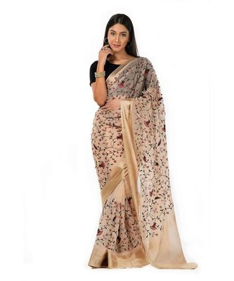 Pure beige organza with gorgeous floral embroidered Wrap in 1 Minute saree