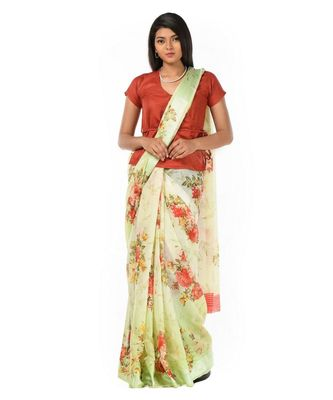 soft light green cotton silk Wrap in 1 Minute saree