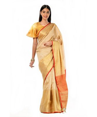 beige, gold and red magic Wrap in 1 Minute saree