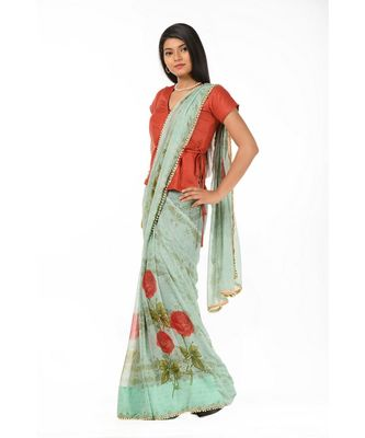 Green printed chiffon magic Wrap in 1 Minute saree
