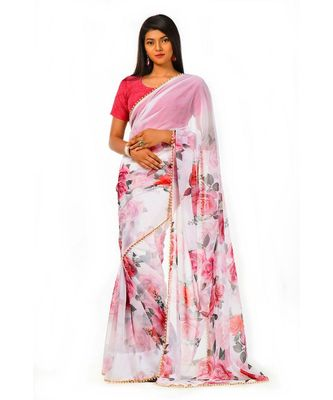 white and pink goergette digital print with moti lace Wrap in 1 Minute saree