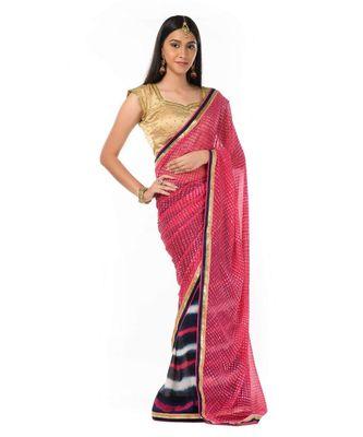 Dark pink and navy blue leheriya printed half n half Wrap in 1 Minute saree