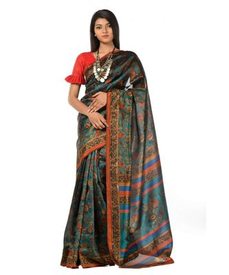 Dark green banarasi printed magic Wrap in 1 Minute saree